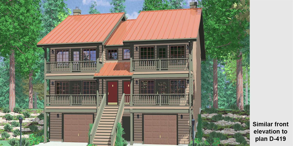 Multi Family Sloping Lot Plans Hillside Plans Daylight Basement