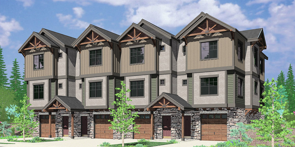 Craftsman townhouse row house floor plans f 540 for Multi family condo plans