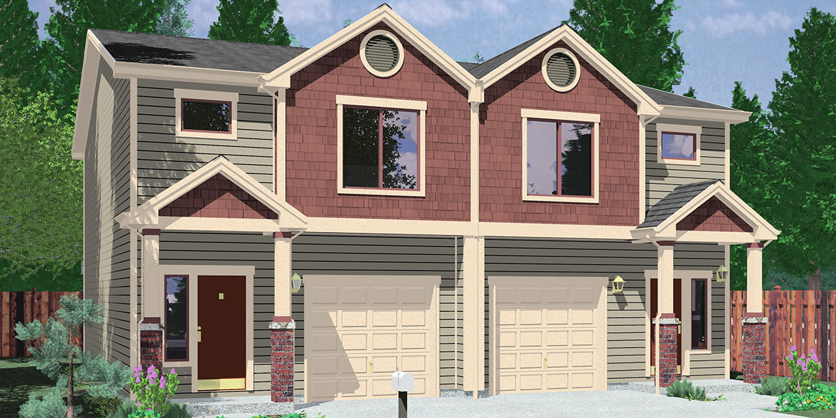 Duplex House Plans, 2 Story Duplex Plans, 3 Bedroom Duplex Plans, 40x44 Ft  Duplex Plan, Duplex Plans With Garage In The Middle, D 599