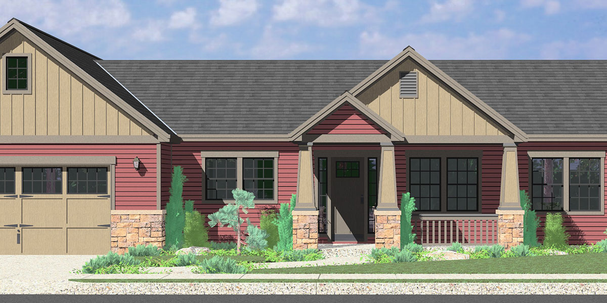 House Front Color Elevation View For 10173 Portland Oregon House Plans, One  Story House Plans
