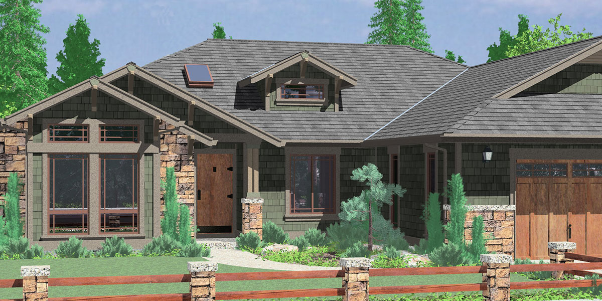 House Front Color Elevation View For 10163 One Story House Plans, Ranch House  Plans,