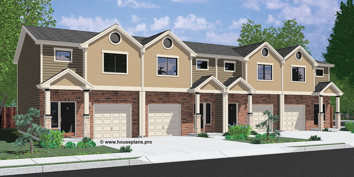 Multi family house plans duplex plans triplex plans 4 for 1 story townhouse plans