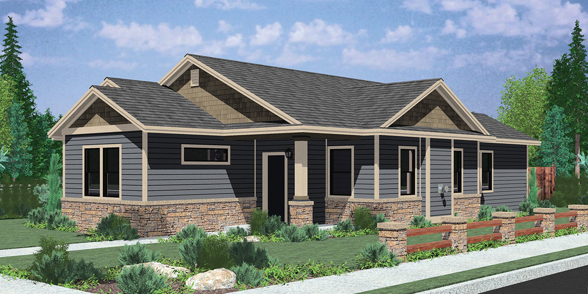 Ranch house plans american house design ranch style home for Single story multi family house plans