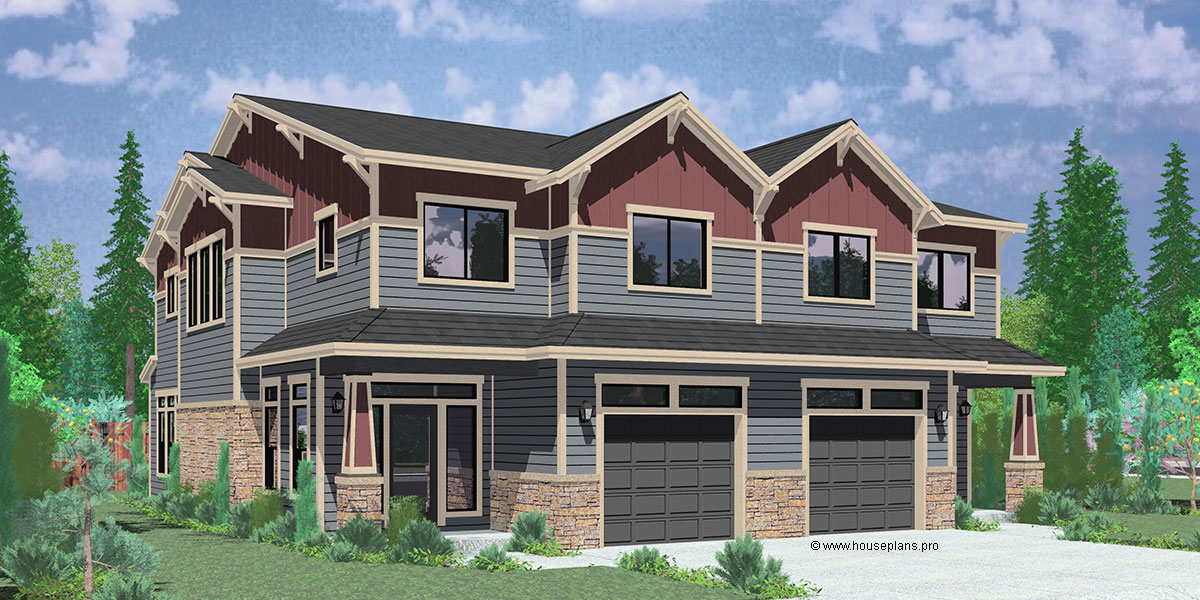 House plans duplex triplex custom building design firm for Luxury craftsman style house plans