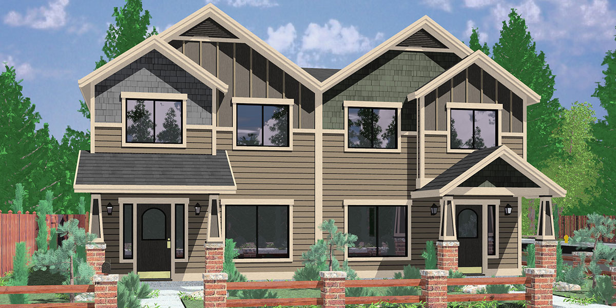 Multi Family House Plans 3 4 unit multi family house plans D 601 Craftsman Duplex House Plans House Plans With Rear Garages 3 Bedroom