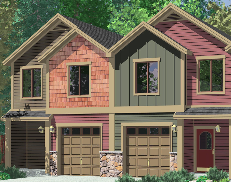 House front color elevation view for F-555 Four plex house plans, craftsman row house plans,F-555
