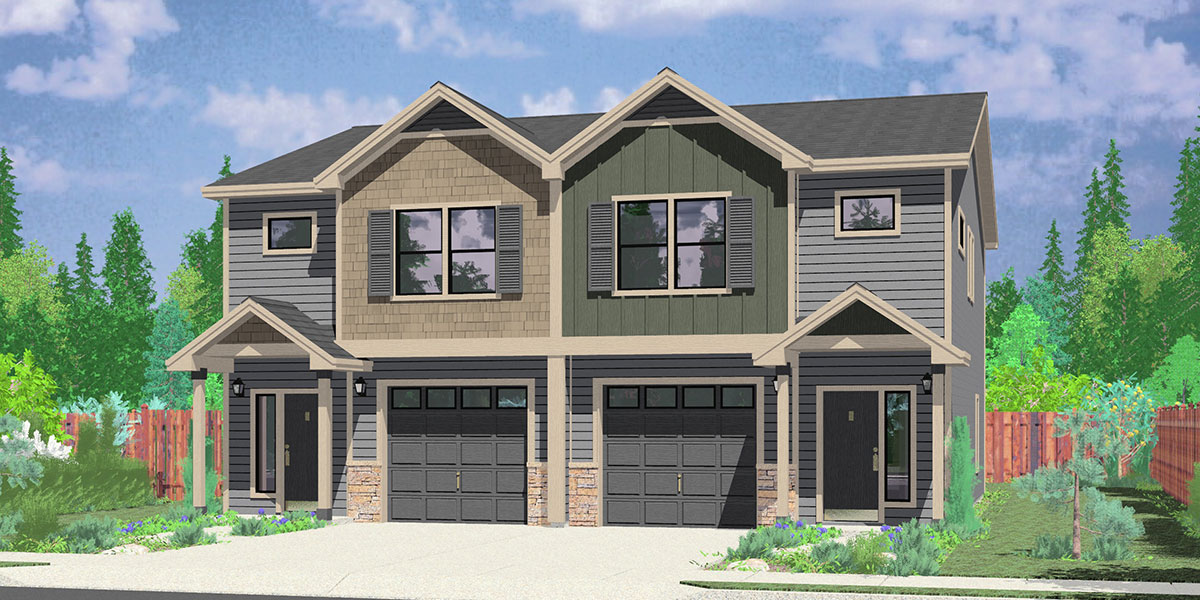 Duplex home plans designs for narrow lots bruinier for 1 story townhouse plans