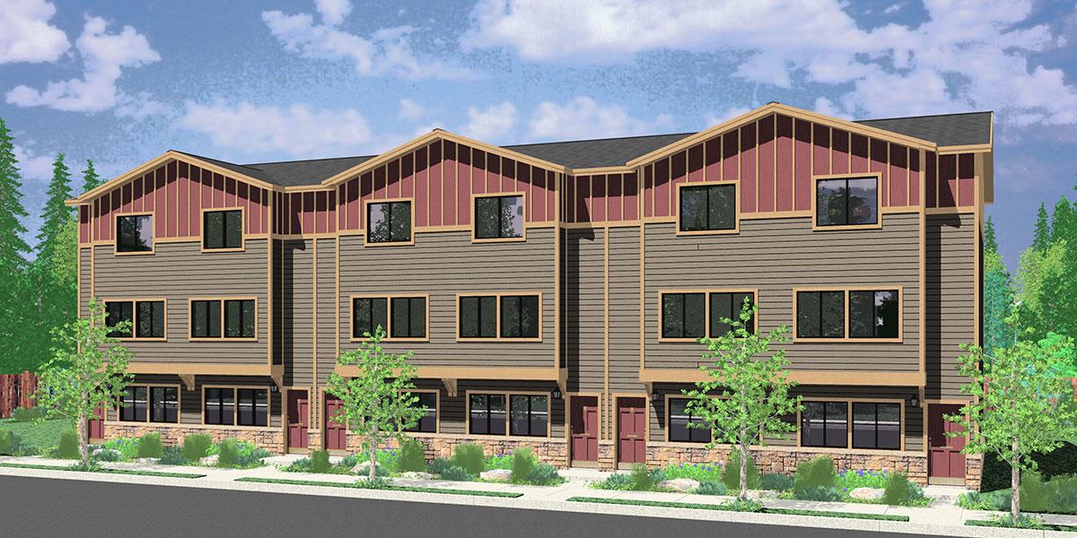 6 Plex House Plans Row House Plans Townhouse Plans