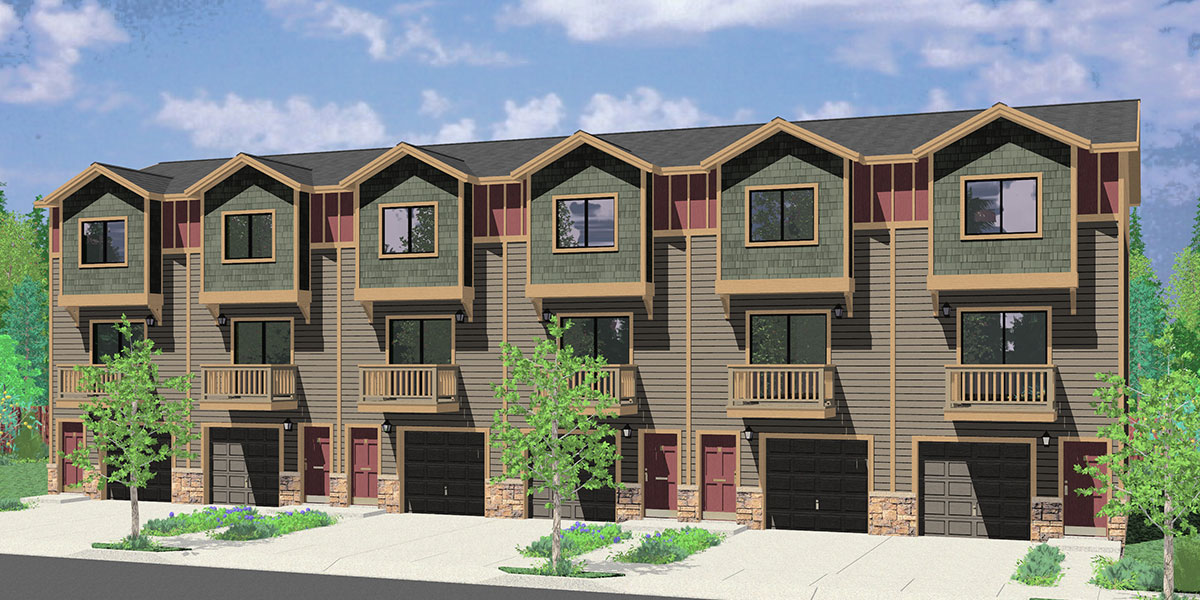 5 plus multiplex units multi family plans for Two story townhouse plans