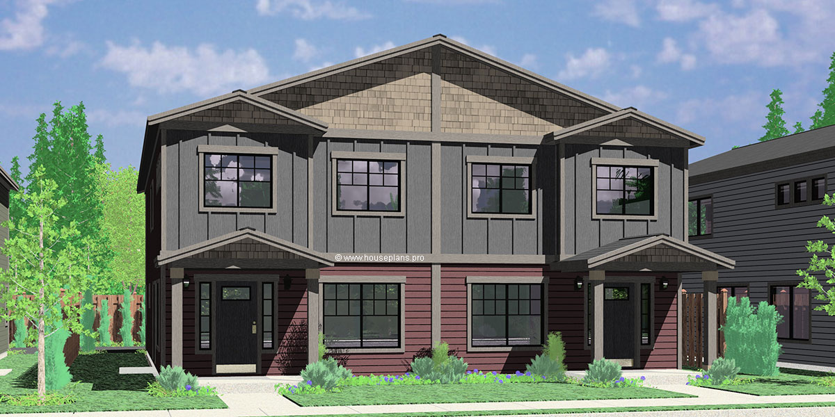 D 608 Duplex House Plan With Rear Garage, Narrow Lot Townhouse Plan, D