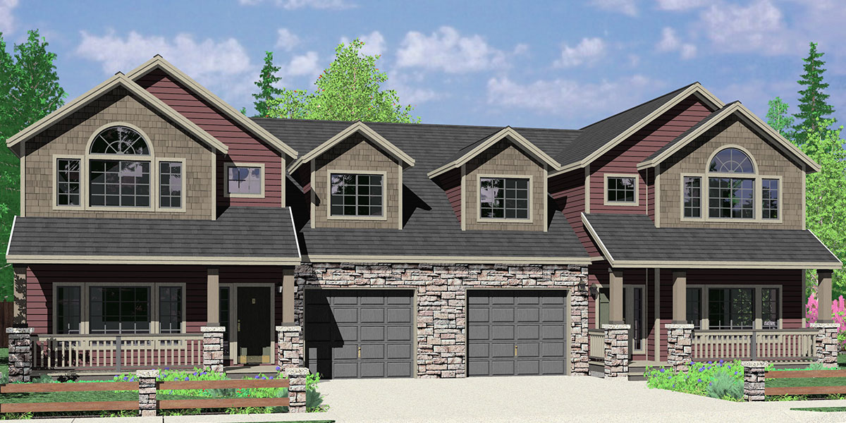 d 609 craftsman luxury duplex house plans with basement and shop