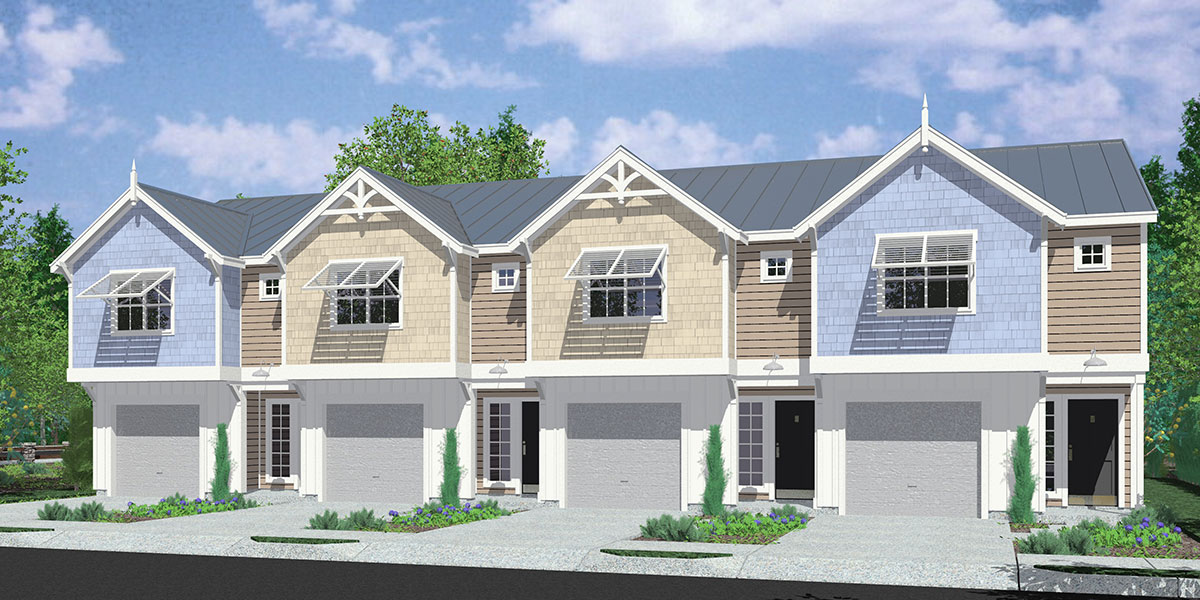 F 576 Florida Vernacular Architectural Style Row House Plan With Pastel Colors Bahama