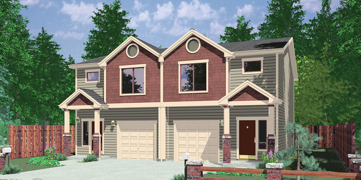 House front color elevation view for D-614 Duplex house plans with basement D-614