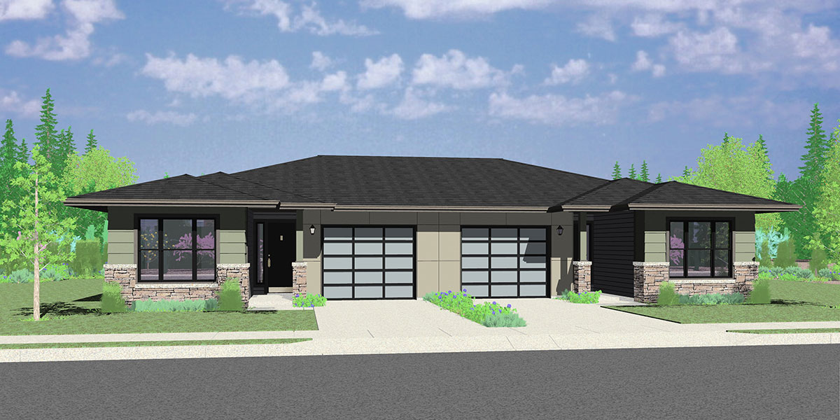Blueprint home design duplex house plans bruinier for Ranch duplex plans