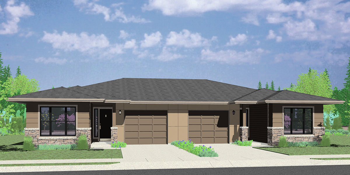 House rear elevation view for D-623 Modern Prairie Style, Ranch Duplex House Plan