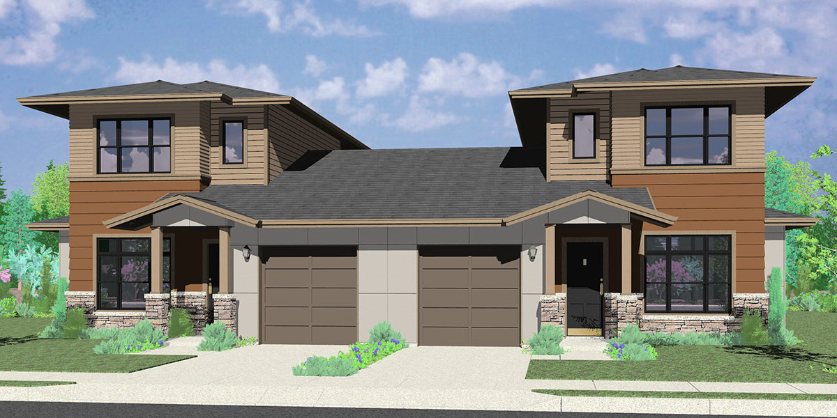 House rear elevation view for D-624 Modern prairie style, duplex house plan, master bedroom on the main floor