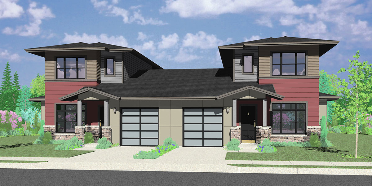 D 624 Modern Prairie Style, Duplex House Plan, Master Bedroom On The Main