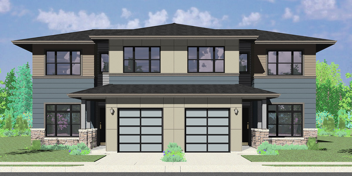 Amazing Modern House Plans With 4 Bedrooms Part - 14: D-625 Modern Prairie Duplex House Plan, 4 Bedroom, Master On The Main
