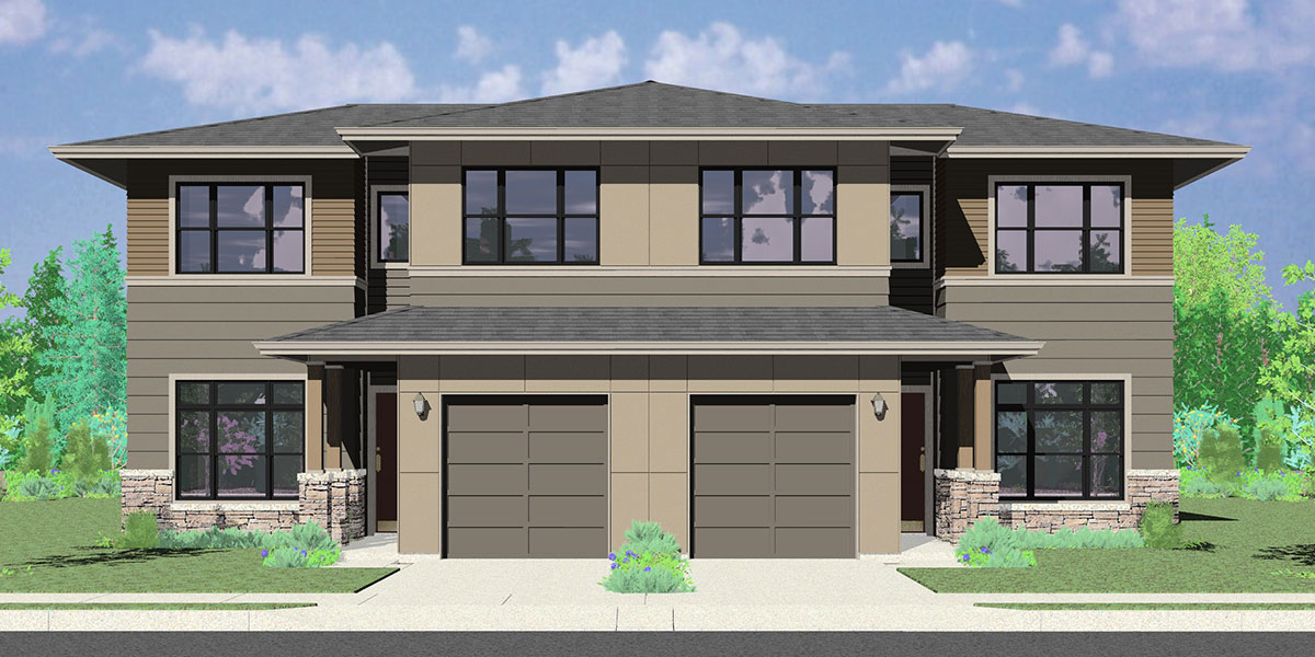 House rear elevation view for D-625 Modern prairie duplex house plan, 4 bedroom, master on the main floor