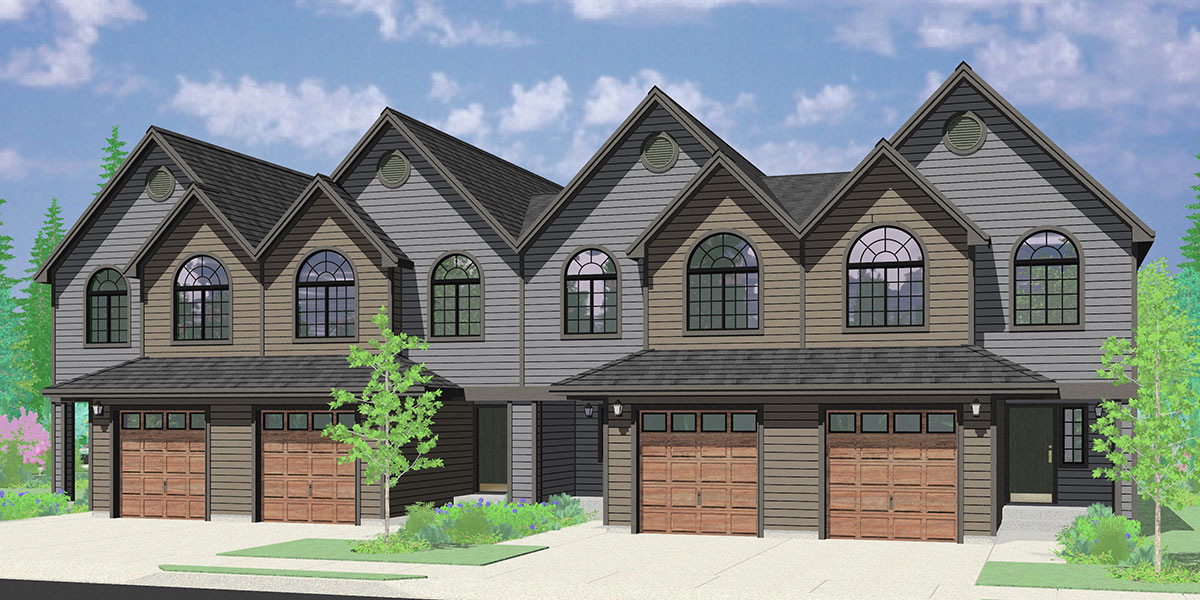 House front color elevation view for F-589 Row house style four plex house plan, 3 bedroom, 2.5 bathroom, 1 car garage