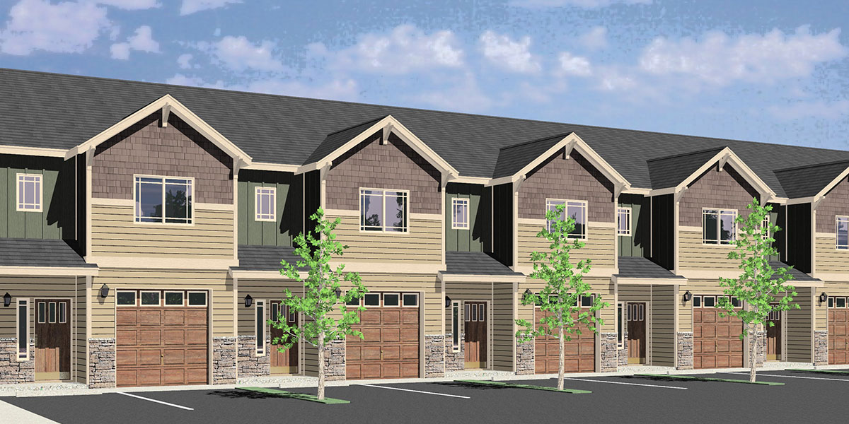 House front color elevation view for SV-739 Seven Plex house plan SV-739