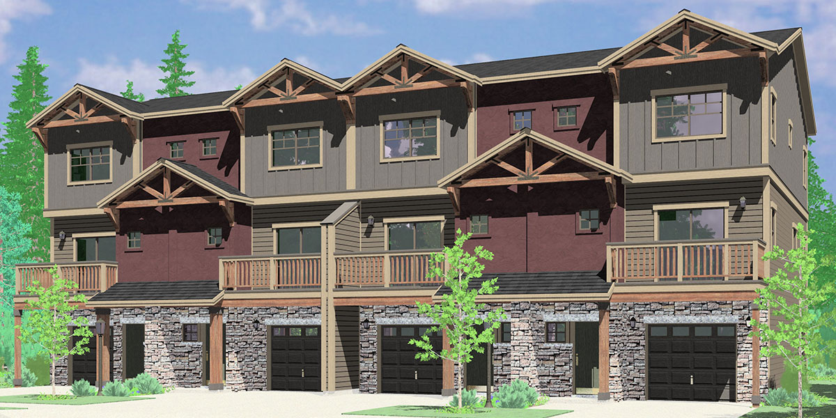 F-583 Four unit town house plan 4 bedroom master on main floor F-583