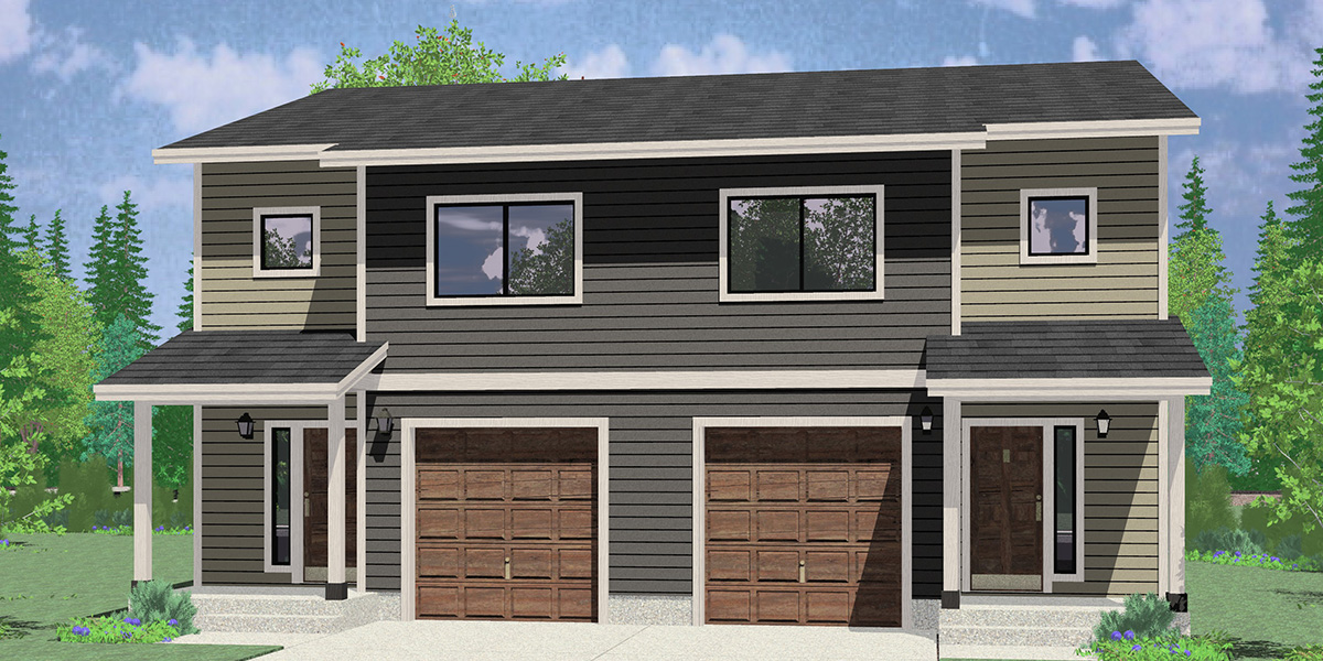 House front color elevation view for D-637 Duplex house plan zero lot line townhouse D-637