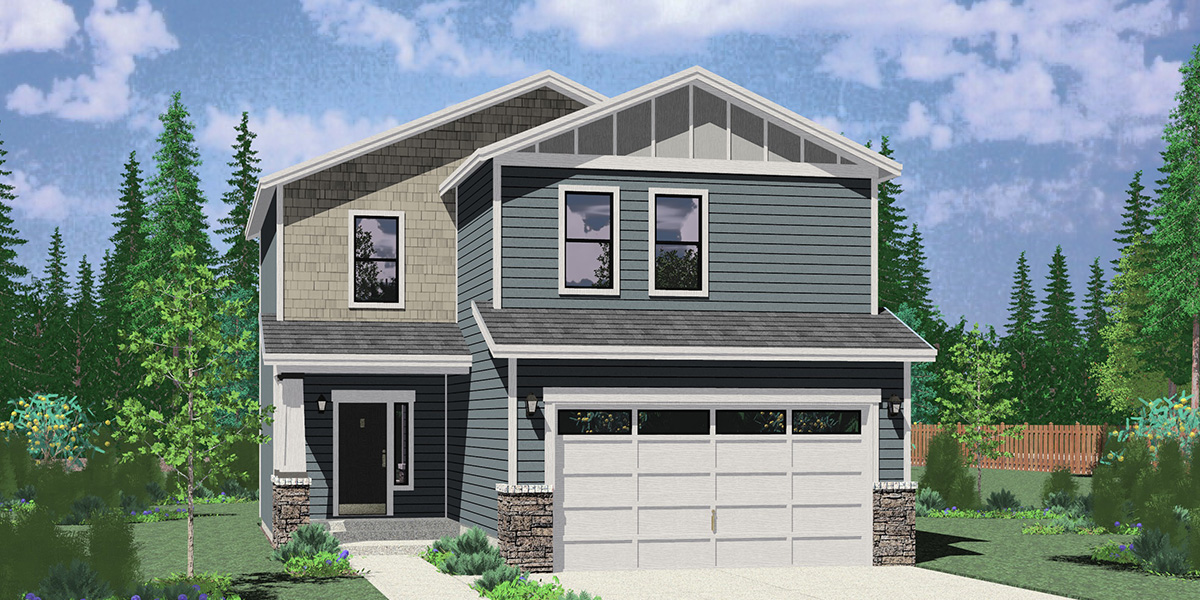 10193 Narrow 2 Story, 5 Bedroom House Plan with 2 Car Garage and Basement 10193