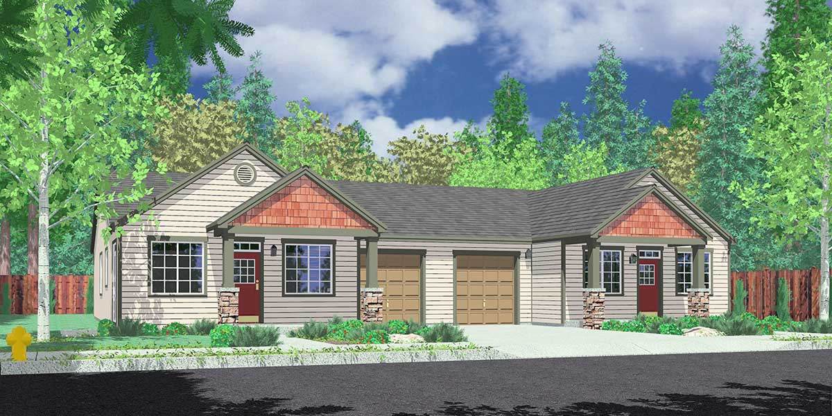 D-628 Ranch duplex house plan with basement D-628