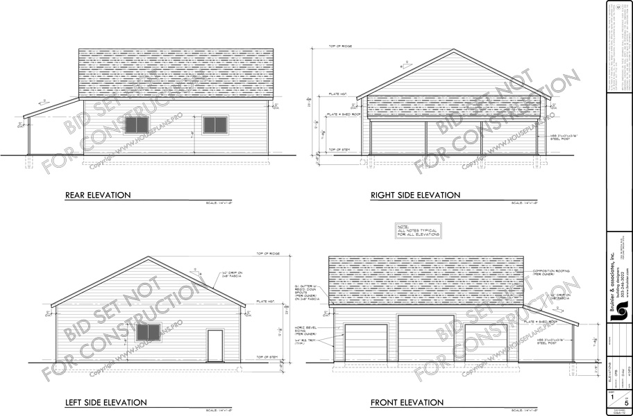 House front color elevation view for CGA-112 40x40 garage plan