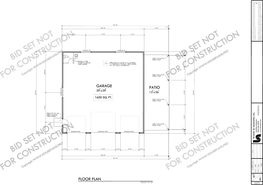 House front drawing elevation view for CGA-112 40x40 garage plan