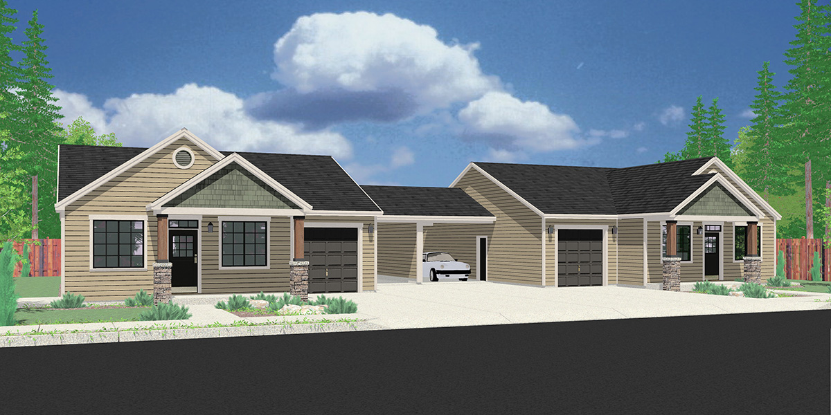 House front color elevation view for D-645 One story duplex house plan with 3 bedrooms and carport D-645