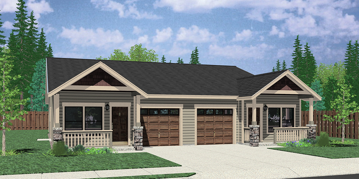 D-652 Narrow Duplex House Plan With Garage in Middle - 3 Bedrooms & 2 Baths