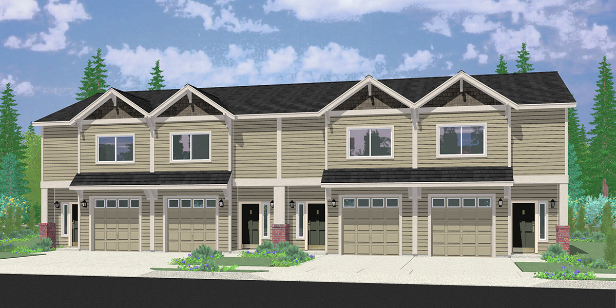 F-599 Four Plex Building Plans with 2 Bedroom, 2.5 Bath, 4 Single Car Garages F-599