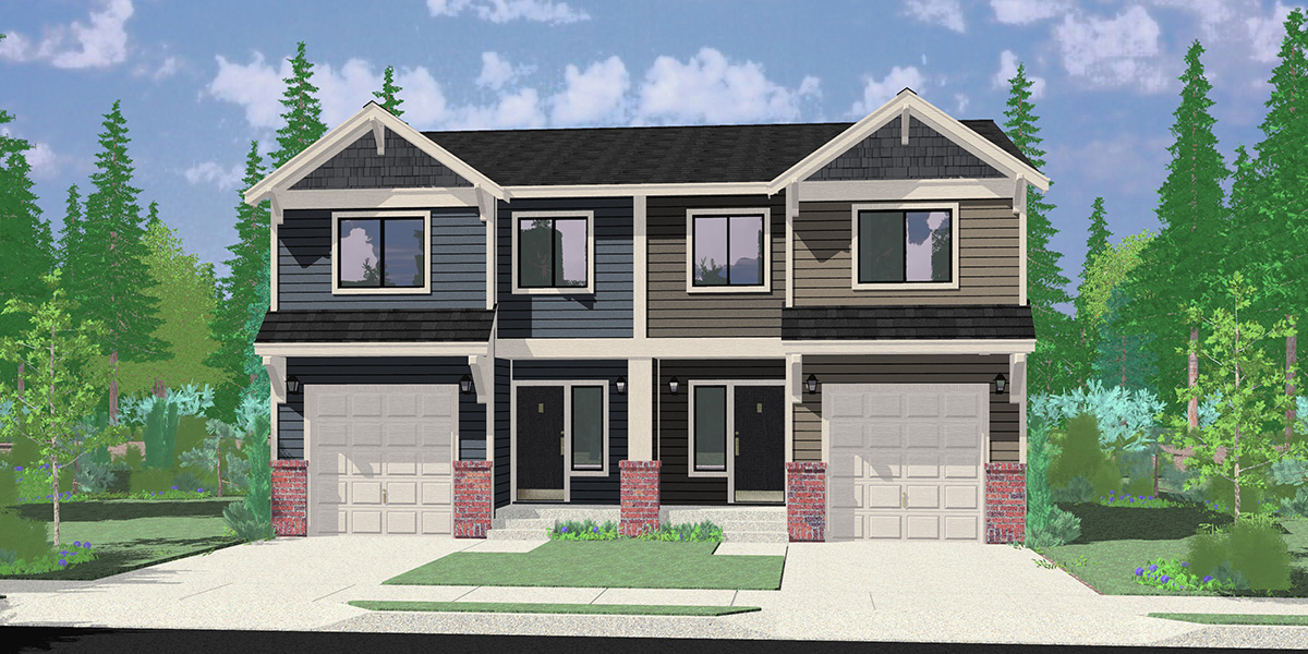 D-648 Sloping Lot Duplex House Plan
