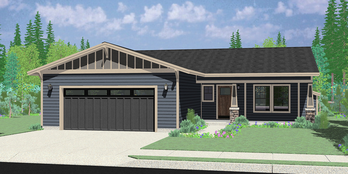 House front color elevation view for 10201 Ranch house plan, with safe house storm room, 10201
