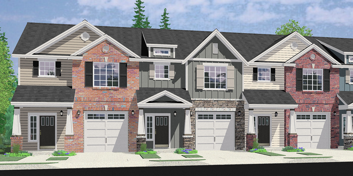 House front drawing elevation view for FV-605 Custom 5 Plex Townhouse Plan