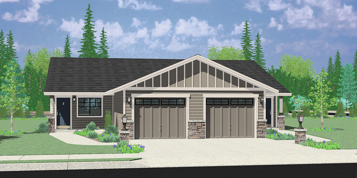 D-659 Single Level Ranch Duplex House Plan D-659