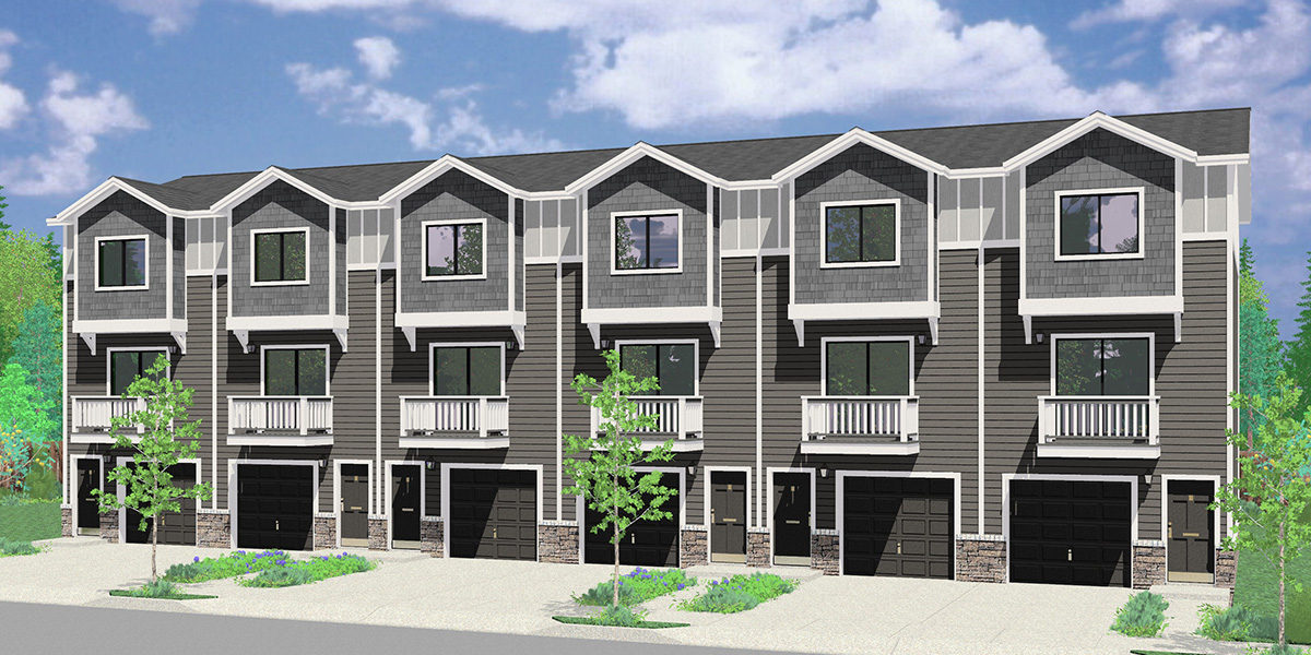 S-741 6 Row, 3 Story, Narrow Townhouse Plans with Office S-741
