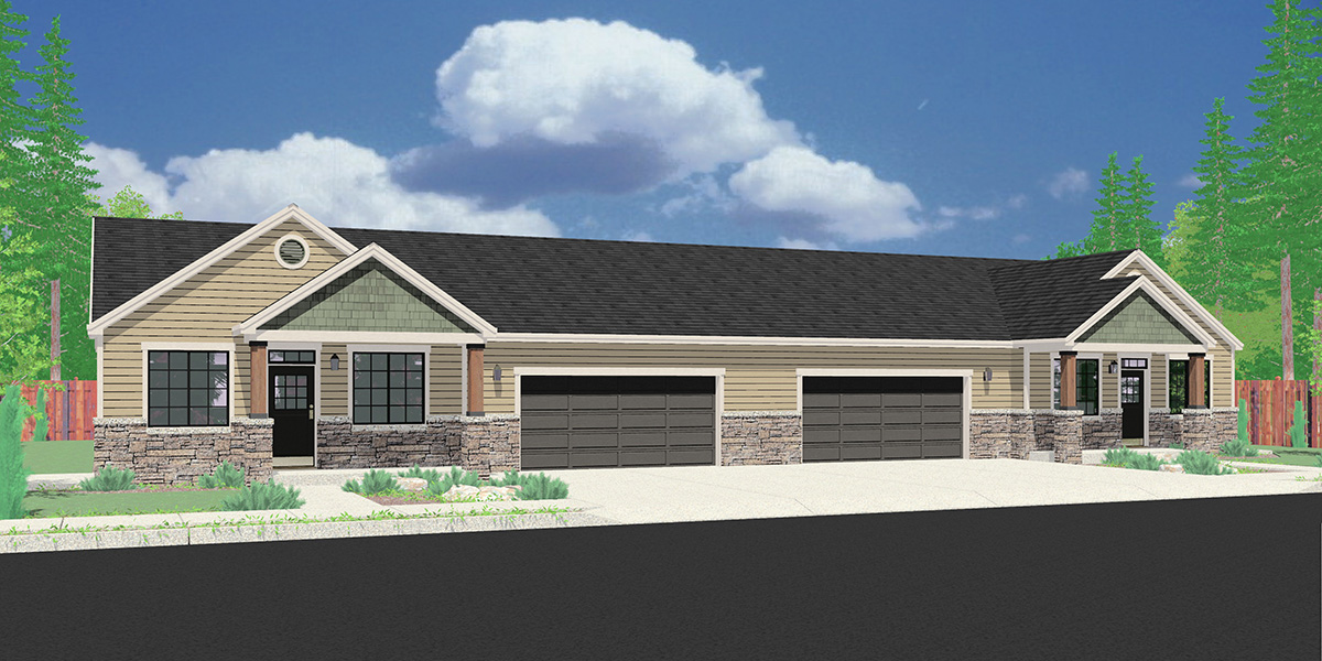 House front color elevation view for D-649 One level ranch duplex design 3 car garage D-649