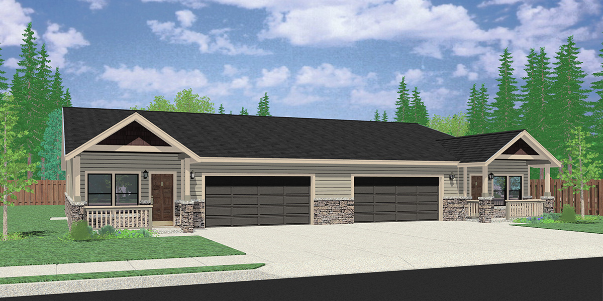 D-650 One level ranch duplex design 3 car garage D-650