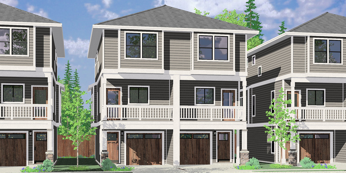 House front color elevation view for D-642 Narrow town house plan D-642