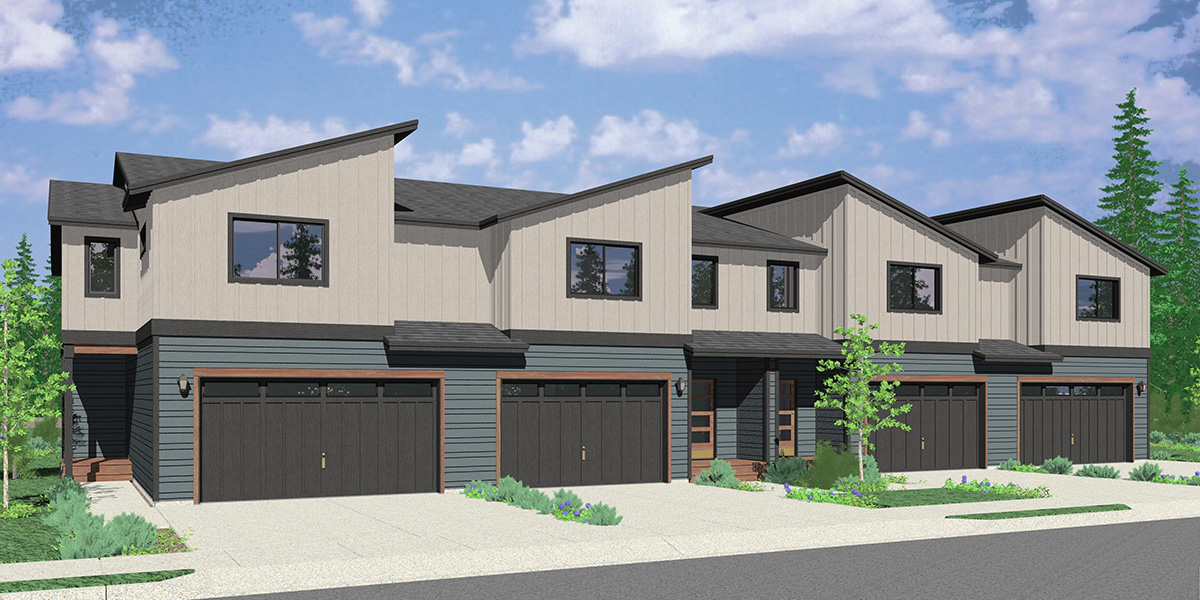 F-614 Two story modern town house plan 2 car garage F-614