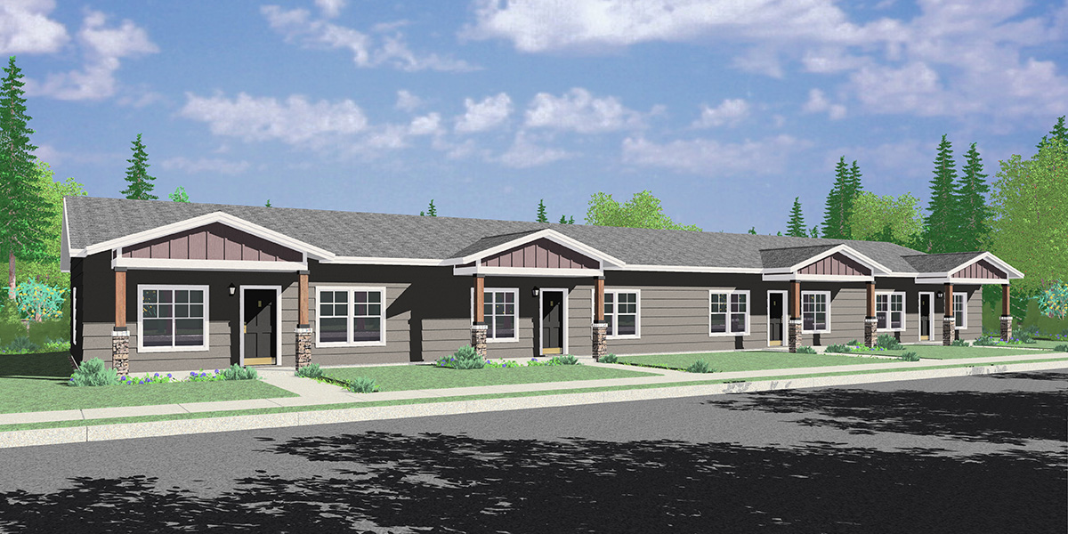 F-618 One Level 4 Plex Townhouse Housing Plan: 2 Bed, 2 Bath F-618