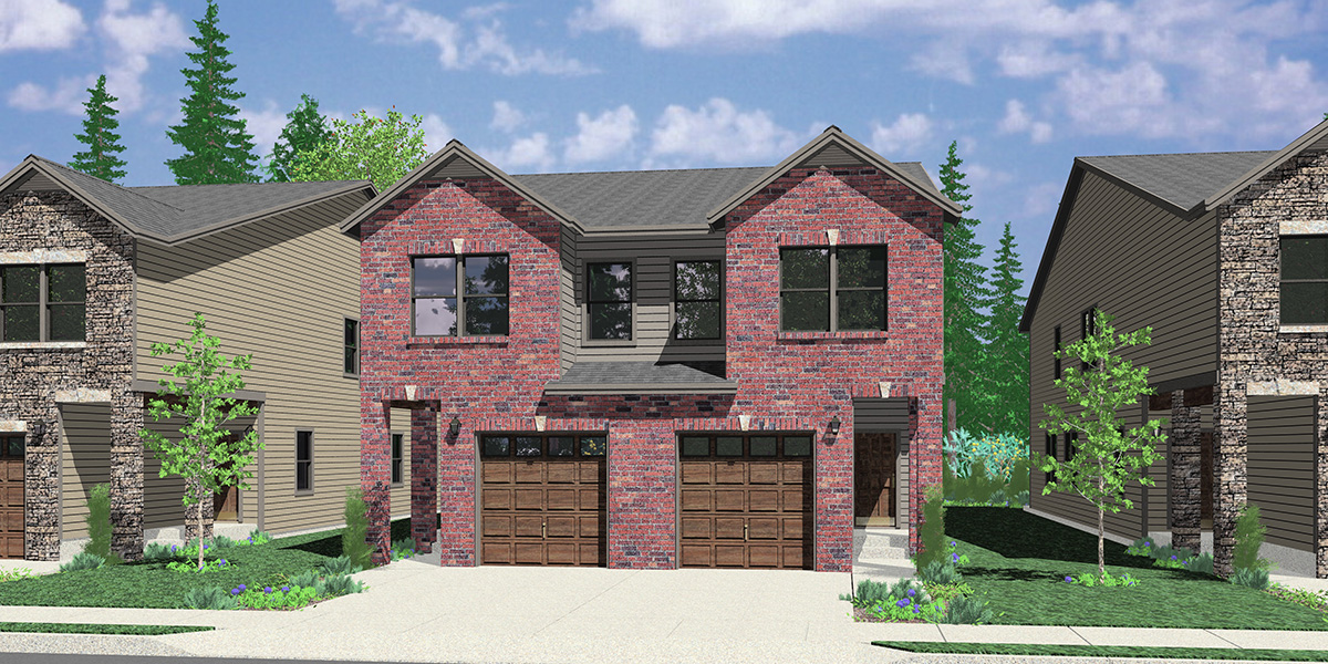 D-667 Narrow town house, duplex plan D-667