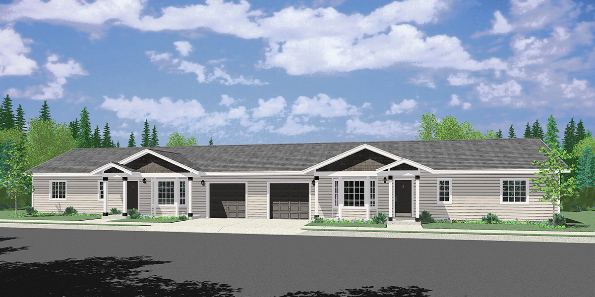 D-643 3 bedroom 2 bath ranch duplex house plan, D-643