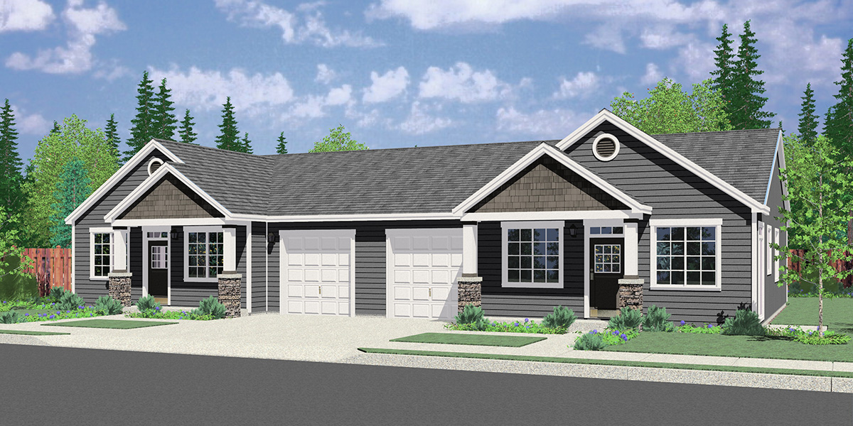House front color elevation view for D-663 3 bedroom 2 bath ranch duplex house plan, with garage, D-663