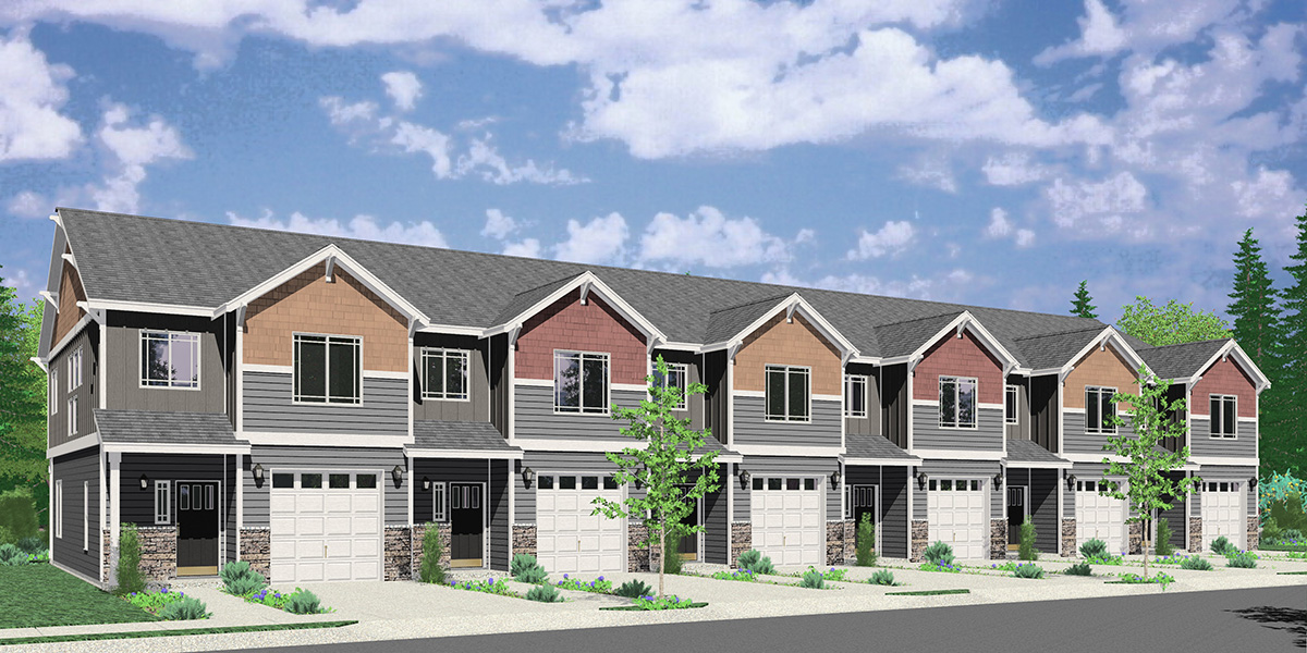 S-743 Craftsman town house plan, 3 bedroom 2.5 bath, with garage, S-743