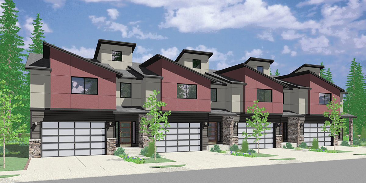 F-622 4 Unit, 2 Story Modern Town House Plan F-622