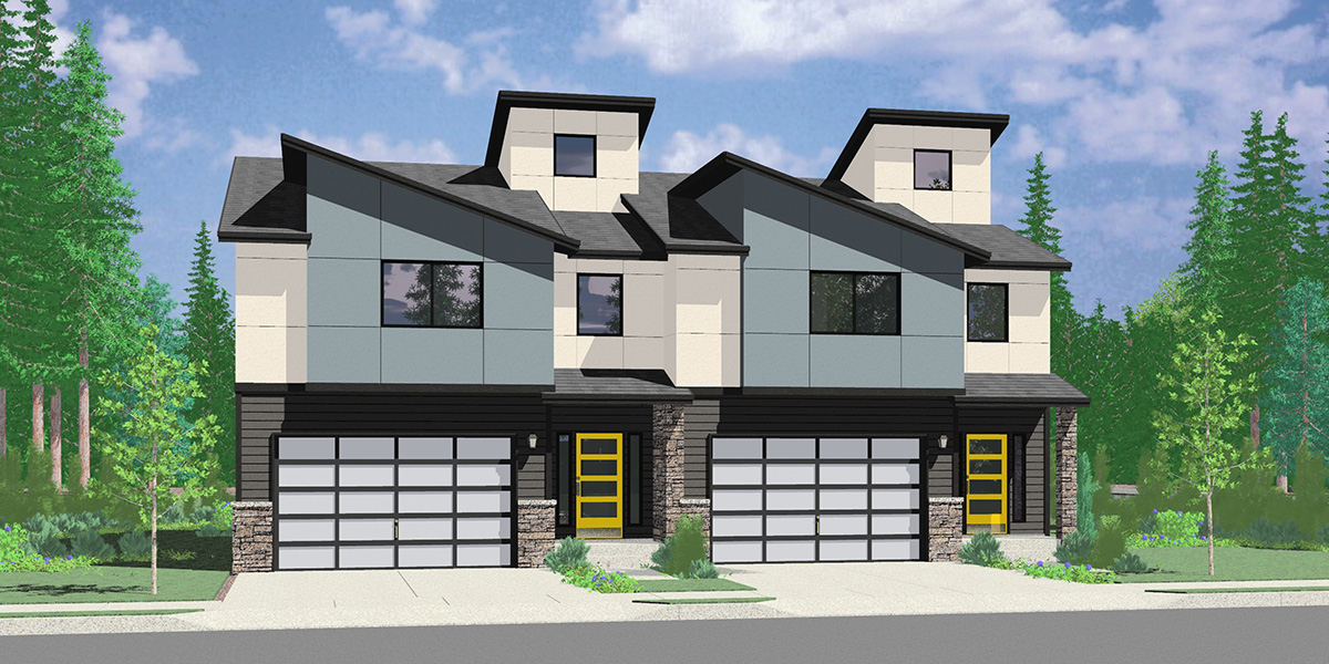 D-668 2 Unit Modern Town House Plan D-668